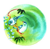 http://www.istockphoto.com/vector/vibrant-teal-birds-on-green-watercolor-texture-with-copyspace-gm685998482-126159665
