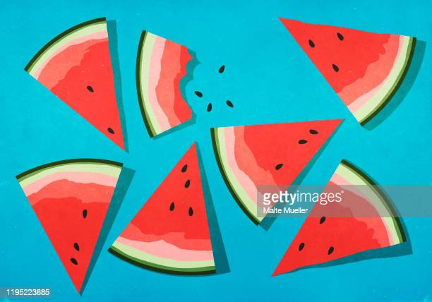 vibrant watermelon slices on blue background - food and drink stock illustrations