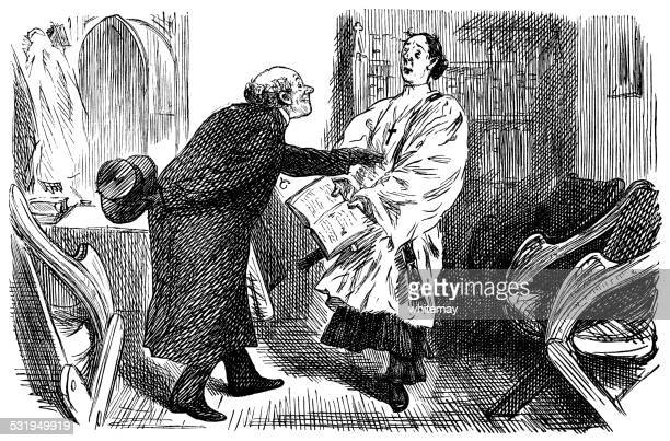 vicar and curate in discussion - teasing stock illustrations, clip art, cartoons, & icons