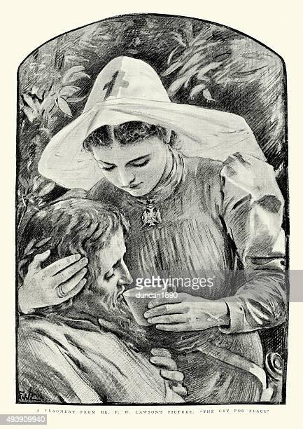 ilustraciones, imágenes clip art, dibujos animados e iconos de stock de victoiran enfermero profesional de heridos soldier - enfermera
