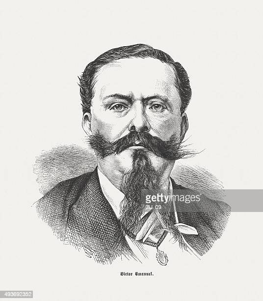 victor emmanuel ii, king of italy, published in 1871 - altare della patria stock illustrations