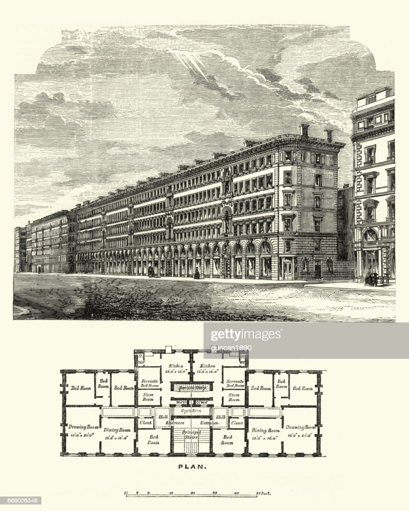 Victoria Street, Westminster, London in the 19th Century : stock illustration