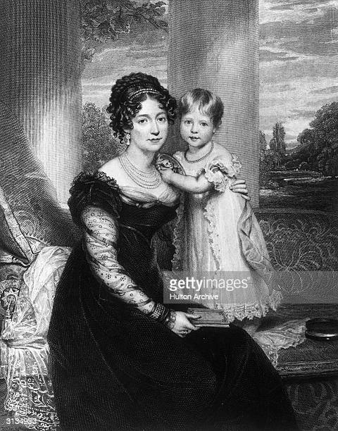 Victoria, the Duchess of Kent with her three year old daughter, Princess Alexandrina Victoria, later Queen Victoria of Great Britain. The young...
