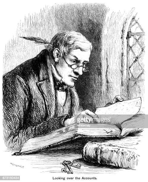 Victorian accountant working with quill pen behind his ear