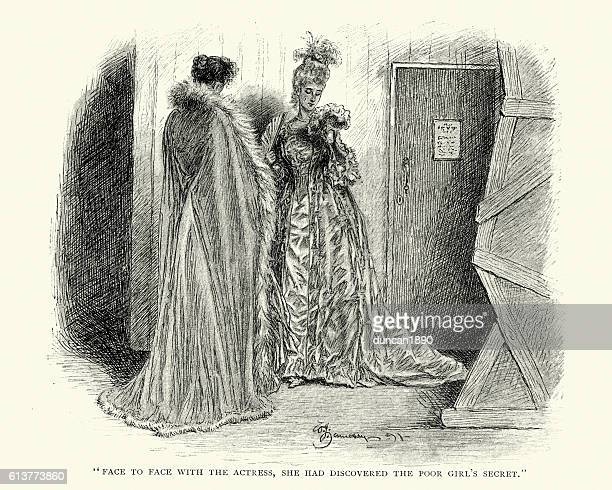 victorian actresses talking backstage - actress stock illustrations
