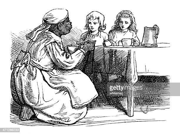 ilustraciones, imágenes clip art, dibujos animados e iconos de stock de victorian afro-caribe nanny a la chidren su cena - enfermera