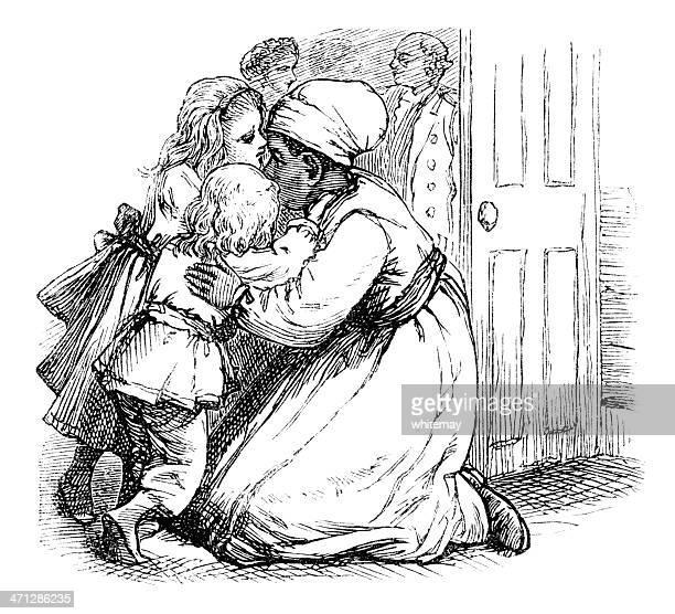 Victorian Afro-Caraíbas Babá agarrar crianças