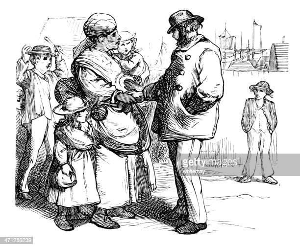 Victorian Afro-Caraíbas Babá com crianças
