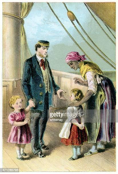Victorian Afro-Caraíbas enfermeiro, crianças e auditor a bordo do navio