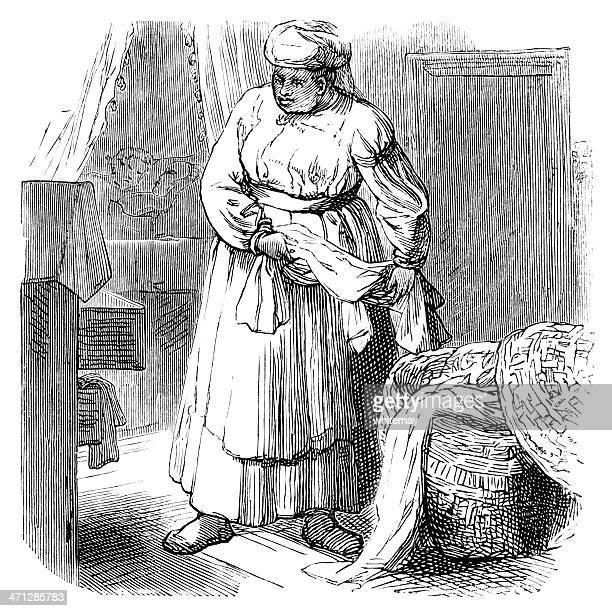 Victorian Afro-Caribbean servant tidying a bedroom