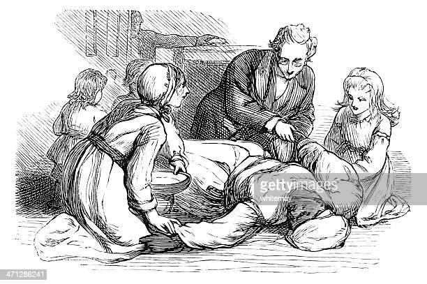 Victorian Afro-Caraíbas mulher deitado no chão