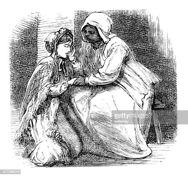 victorian afro-caribbean woman comforting a young lady - bonnet stock illustrations, clip art, cartoons, & icons