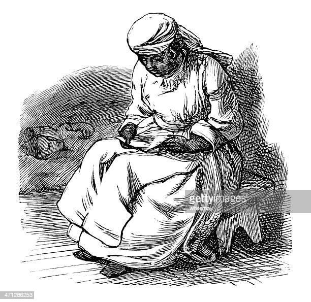 ilustrações, clipart, desenhos animados e ícones de victorian afro-caribenha mulher estudando uma carta - história afro americana nos eua