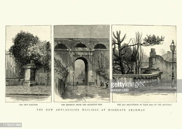 viktorianische anti-selbstmord-geländer am highgate archway, london, 19. jahrhundert - highgate stock-grafiken, -clipart, -cartoons und -symbole