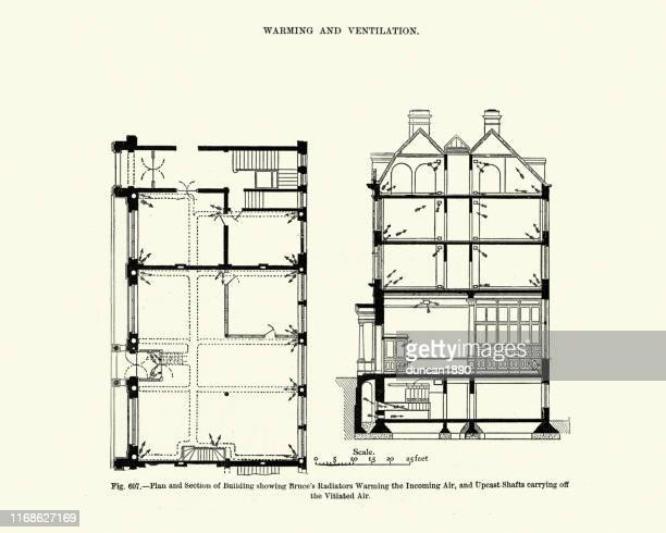 victorian architecture, ventilation and warming, radiators, 19th century - radiator heater stock illustrations, clip art, cartoons, & icons