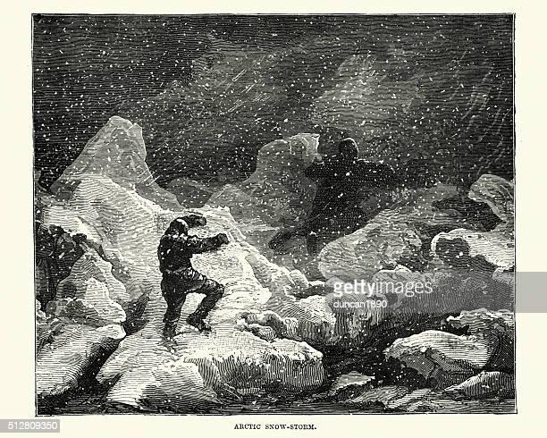 Victorian Arctic explorers in a snow storm