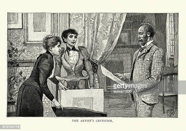 Victorian art critic viewing a portfolio