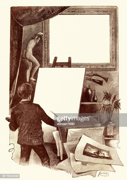 victorian artist with a blank canvas, 19th century - artist's model stock illustrations, clip art, cartoons, & icons