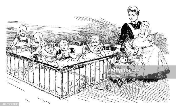 illustrations, cliparts, dessins animés et icônes de victorian bébés dans une infirmerie - assistante maternelle