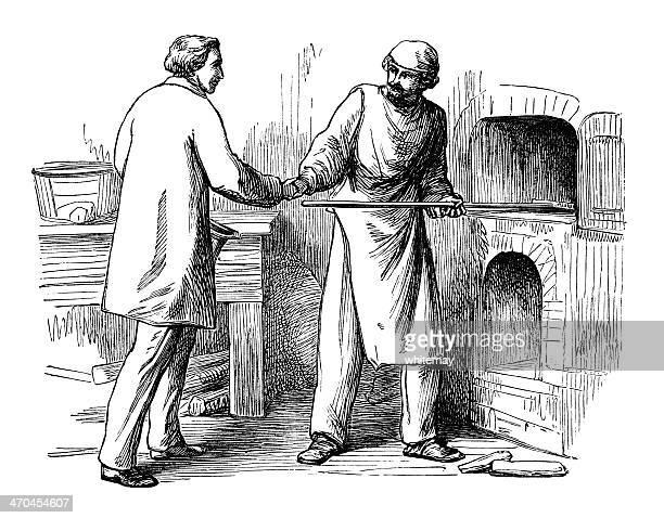 victorian baker greeting a visitor - baker occupation stock illustrations