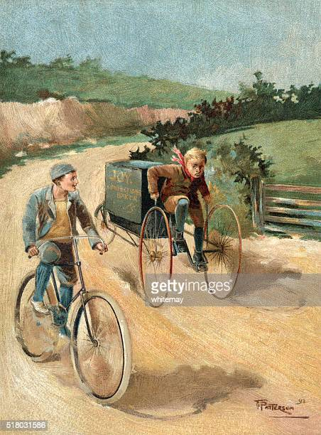 Victorian baker's delivery boy and friend cycling in a lane