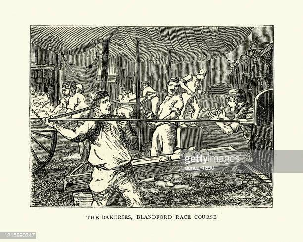 victorian bakers making bread for the army, bakeries, blandford - baker occupation stock illustrations