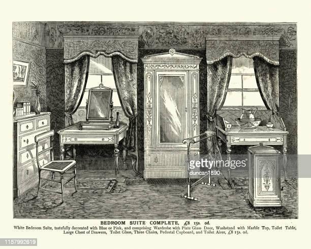 victorian bedroom furniture, wardrobe, washstand, drawers, 19th century - 19th century stock illustrations