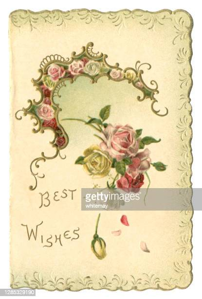 victorian 'best wishes' card with scalloped edge, 1899 - birthday card stock illustrations