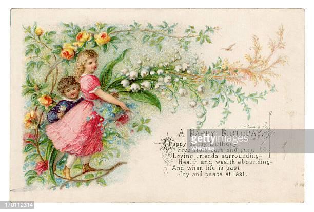 victorian geburtstagskarte 1879 - geburtstagskarte stock-grafiken, -clipart, -cartoons und -symbole