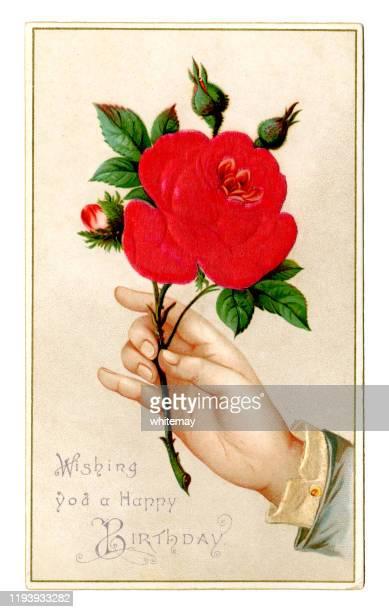stockillustraties, clipart, cartoons en iconen met victoriaanse verjaardagskaart met rose, 1889 - happy birthday vintage