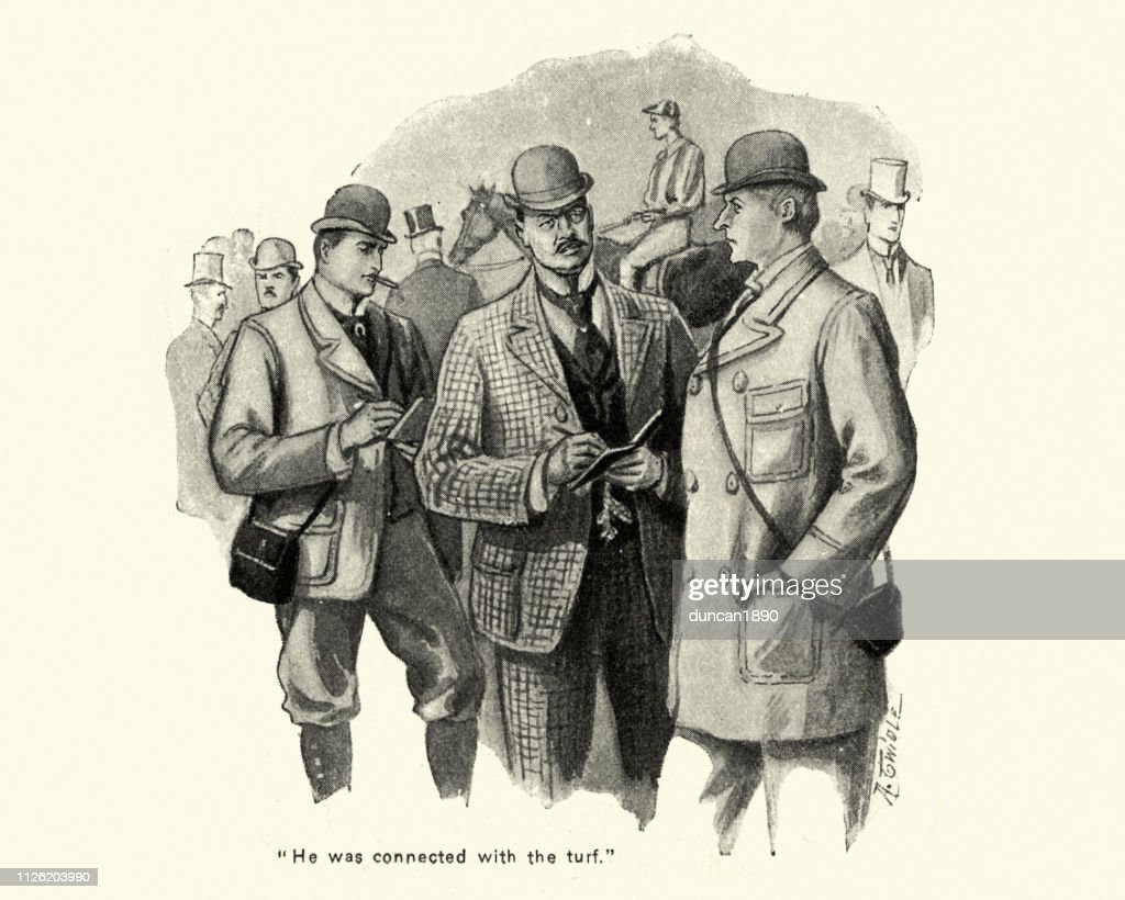 Victorian bookmakers taking bets at a racecourse 1890s, 19th Century : stock illustration
