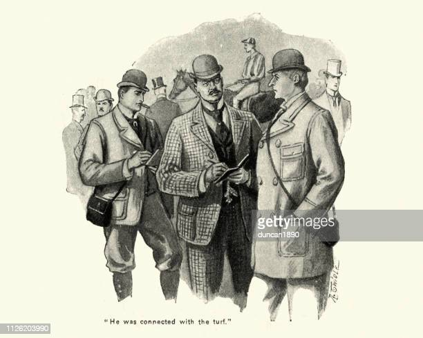 victorian bookmakers taking bets at a racecourse 1890s, 19th century - bookmakers stock illustrations, clip art, cartoons, & icons