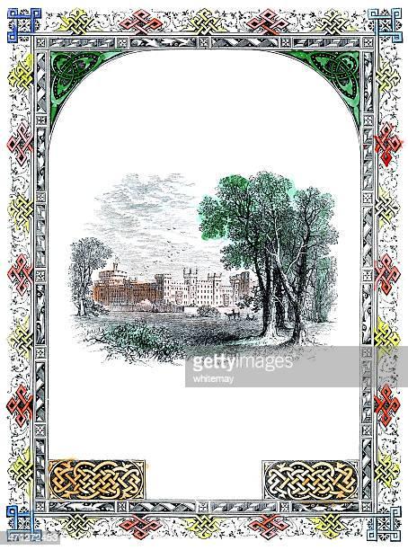 victorian border and sketch of windsor castle - windsor castle stock illustrations