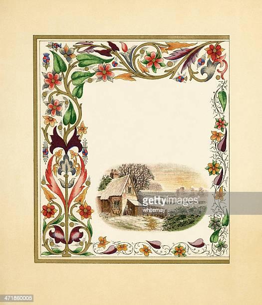 ilustraciones, imágenes clip art, dibujos animados e iconos de stock de victorian fronteras con países de la cabaña - enredadera