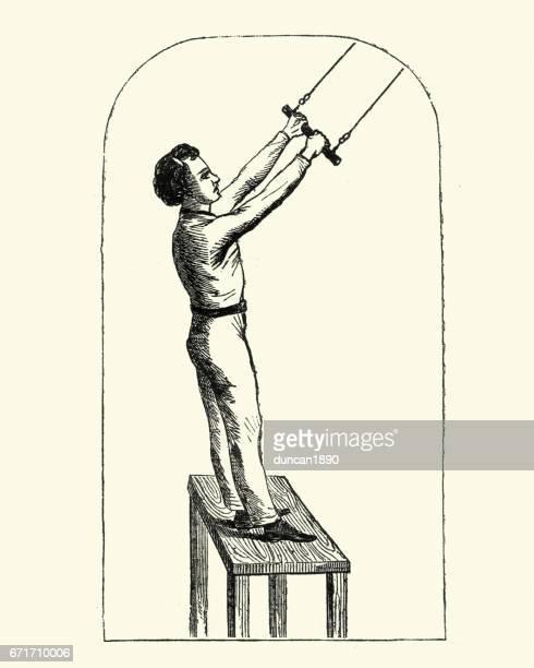 Abouit garçon victorienne à utiliser un trapèze