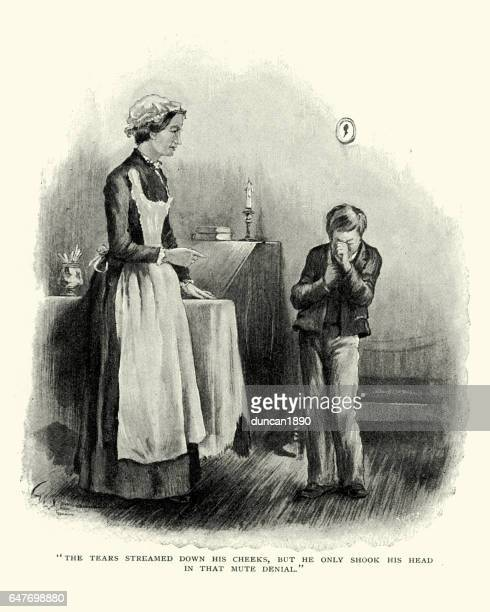 victorian boy being told off by his nanny - naughty america stock illustrations, clip art, cartoons, & icons