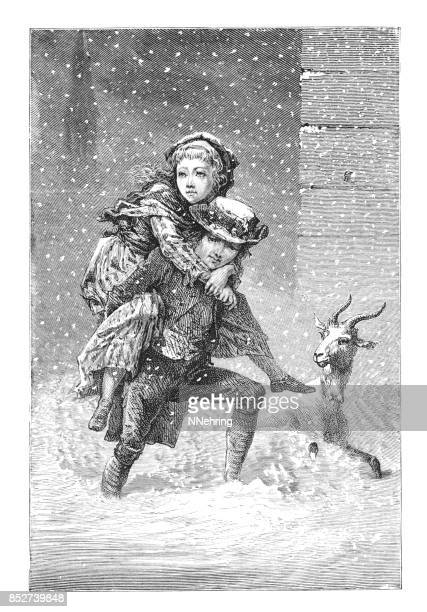 Victorian boy carrying girl piggyback through snow storm