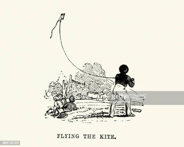 victorian boy flying a kite - kite toy stock illustrations, clip art, cartoons, & icons