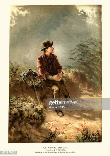 victorian boy resting at the side of a country road - vagabond stock illustrations, clip art, cartoons, & icons