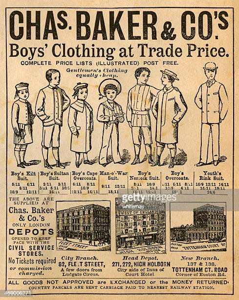 victorian boys' clothing shop advertisement, 1881 - sunday best stock illustrations, clip art, cartoons, & icons