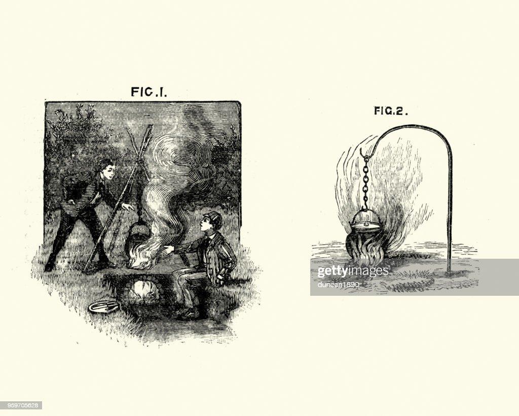Viktorianische jungen Kochen am Lagerfeuer, 19. Jahrhundert : Stock-Illustration