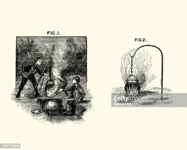 victorian boys cooking on a campfire, 19th century - cauldron stock illustrations, clip art, cartoons, & icons
