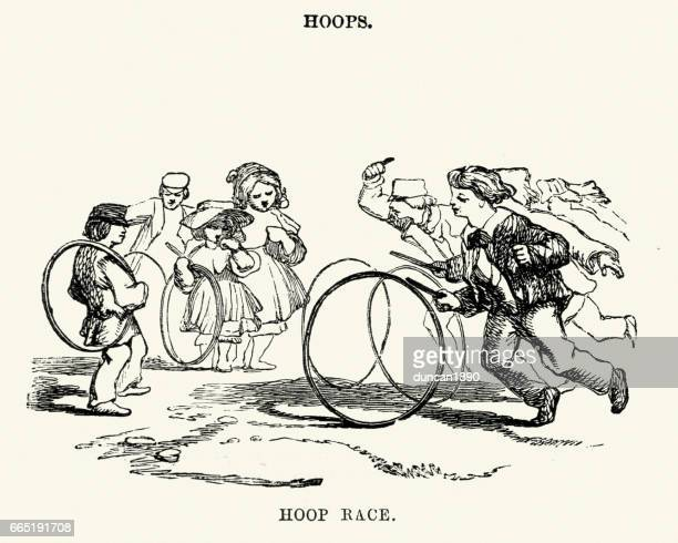 victorian boys playing with hoops - plastic hoop stock illustrations