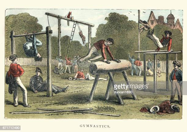 victorian boys practicing gymnastics - gymnastics stock illustrations, clip art, cartoons, & icons