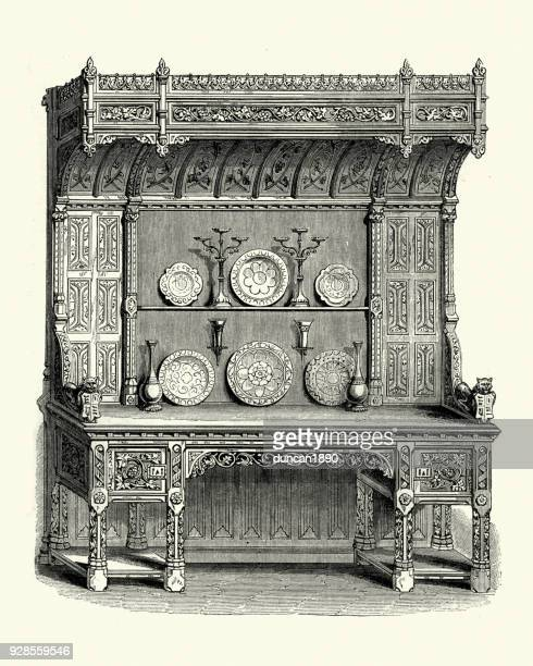 victorian cabinet in carved oak, mid 19th century - display cabinet stock illustrations, clip art, cartoons, & icons