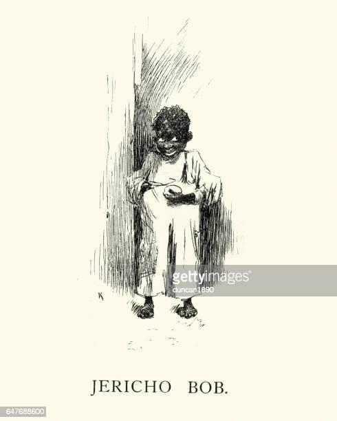 illustrations, cliparts, dessins animés et icônes de caricature victorienne d'un garçon africain - racisme