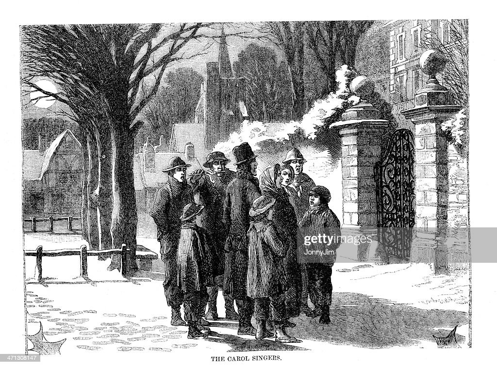 Victorian Carol Singers In Street Engraving From 1864 Magazine Stock