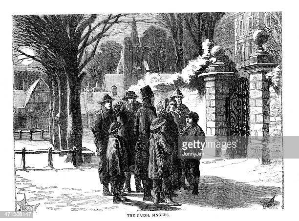 victorian carol singers in street engraving from 1864 magazine - 19th century style stock illustrations
