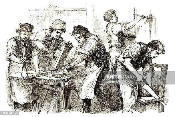 victorian carpenters at work - carpentry stock illustrations