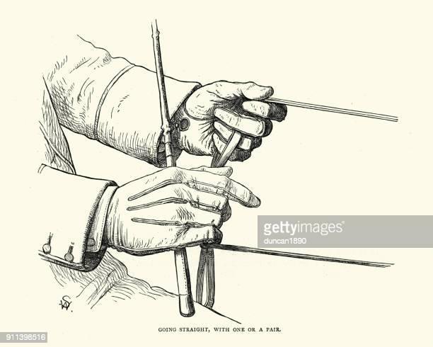 ビクトリア朝のキャリッジ運転、手綱を握り - 手綱点のイラスト素材/クリップアート素材/マンガ素材/アイコン素材